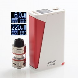 Authentic SMOKTech SMOK H-Priv 220W TC VW Box Mod + Micro TFV4 Kit - White, 6~220W, 2 x 18650, 2.5 / 3ml