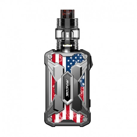 Authentic Rincoe Mechman 228W TC VW Box Mod + Mechman Mesh Tank Kit - Steel Wing American Flag SS, 1~228W, 2 x 18650, 4.5ml