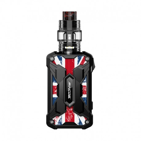 Authentic Rincoe Mechman 228W TC VW Box Mod + Mechman Mesh Tank Kit - Steel Wing Union Flag Black, 1~228W, 2 x 18650, 4.5ml