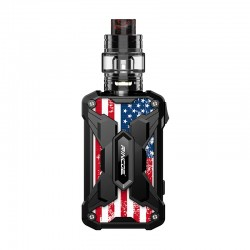 Authentic Rincoe Mechman 228W TC VW Box Mod + Mechman Mesh Tank Kit - Steel Wing American Flag Black, 1~228W, 2 x 18650, 4.5ml
