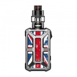 Authentic Rincoe Mechman 228W TC VW Box Mod + Mechman Mesh Tank Kit - Steel Bone Union Flag SS, 1~228W, 2 x 18650, 4.5ml