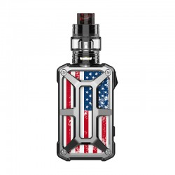 Authentic Rincoe Mechman 228W TC VW Box Mod + Mechman Mesh Tank Kit - Steel Bone American Flag SS, 1~228W, 2 x 18650, 4.5ml