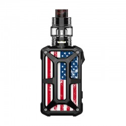Authentic Rincoe Mechman 228W TC VW Box Mod + Mechman Mesh Tank Kit - Steel Bone American Flag Black, 1~228W, 2 x 18650, 4.5ml