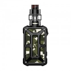 Authentic Rincoe Mechman 228W TC VW Box Mod + Mechman Mesh Tank Kit - Steel Bone Camo Black, 1~228W, 2 x 18650, 4.5ml