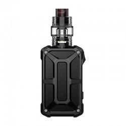 Authentic Rincoe Mechman 228W TC VW Box Mod + Mechman Mesh Tank Kit - Steel Bone Full Black, 1~228W, 2 x 18650, 4.5ml