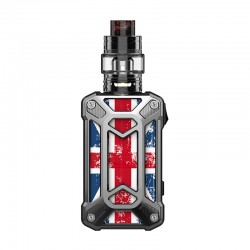 Authentic Rincoe Mechman 228W TC VW Box Mod + Mechman Mesh Tank Kit - Steel Case Union Flag SS, 1~228W, 2 x 18650, 4.5ml