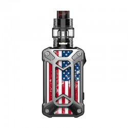 Authentic Rincoe Mechman 228W TC VW Box Mod + Mechman Mesh Tank Kit - Steel Case American Flag SS, 1~228W, 2 x 18650, 4.5ml