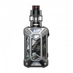 Authentic Rincoe Mechman 228W TC VW Box Mod + Mechman Mesh Tank Kit - Steel Case Wolf SS, 1~228W, 2 x 18650, 4.5ml
