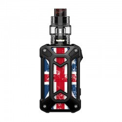 Authentic Rincoe Mechman 228W TC VW Box Mod + Mechman Mesh Tank Kit - Steel Case Union Flag Black, 1~228W, 2 x 18650, 4.5ml