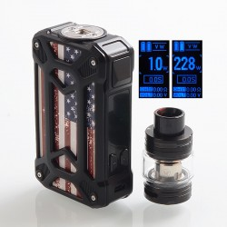 Authentic Rincoe Mechman 228W TC VW Box Mod + Mechman Mesh Tank Kit - Steel Case American Flag Black, 1~228W, 2 x 18650, 4.5ml