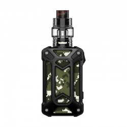 Authentic Rincoe Mechman 228W TC VW Box Mod + Mechman Mesh Tank Kit - Steel Case Camo Black, 1~228W, 2 x 18650, 4.5ml