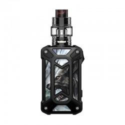 Authentic Rincoe Mechman 228W TC VW Box Mod + Mechman Mesh Tank Kit - Steel Case Wolf Black, 1~228W, 2 x 18650, 4.5ml