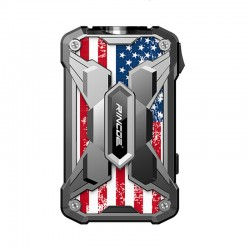 Authentic Rincoe Mechman 228W TC VW Variable Wattage Box Mod - Steel Wing American Flag SS, 1~228W, 2 x 18650