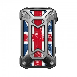 Authentic Rincoe Mechman 228W TC VW Variable Wattage Box Mod - Steel Case Union Flag SS, 1~228W, 2 x 18650