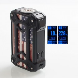Authentic Rincoe Mechman 228W TC VW Variable Wattage Box Mod - Steel Case American Flag Black, 1~228W, 2 x 18650