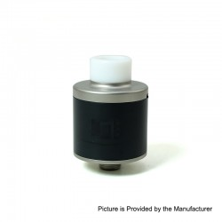 SXK Biochip Style RDA Rebuildable Dripping Atomizer w/ BF Pin - Silver + Black, 316 Stainless Steel + PEI, 22mm Diameter