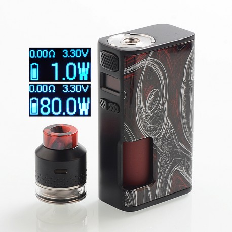 Authentic Wismec Luxotic Surface 80W TC VW Squonk Mod + Kestrel RDTA Kit - Basketball, 1~80W, 6.5ml + 4ml, 1 x 18650