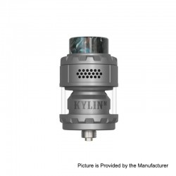 Authentic Vandy Vape Kylin M RTA Rebuildable Tank Atomizer - Frosted Grey, 3ml / 4.5ml, 24mm Diameter