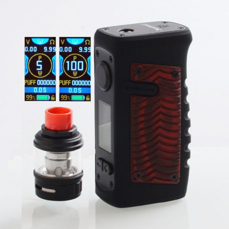 Authentic Vandy Vape Jackaroo 100W TC VW Box Mod + Jackaroo Tank Kit - Red Ridge, 5~100W, 1 x 18650 / 20700 / 21700, 5ml