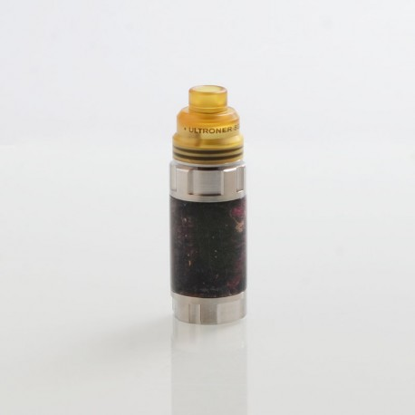 Authentic Ultroner Mini Stick Stabilized Wood Mechanical Mod + Ultroner RDA Kit - Silver + Red, 1 x 18350