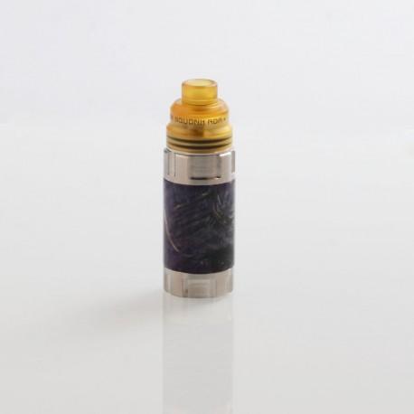 Authentic Ultroner Mini Stick Stabilized Wood Mechanical Mod + Ultroner RDA Kit - Silver + Purple, 1 x 18350