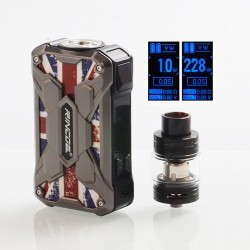Authentic Rincoe Mechman 228W TC VW Box Mod + Mechman Mesh Tank Kit - Steel Wing Union Flag SS, 1~228W, 2 x 18650, 4.5ml