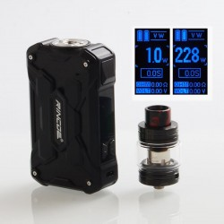 Authentic Rincoe Mechman 228W TC VW Box Mod + Mechman Mesh Tank Kit - Steel Wing Full Black, 1~228W, 2 x 18650, 4.5ml