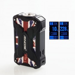 Authentic Rincoe Mechman 228W TC VW Variable Wattage Box Mod - Steel Wing Union Flag Black, 1~228W, 2 x 18650