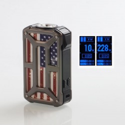 Authentic Rincoe Mechman 228W TC VW Variable Wattage Box Mod - Steel Bone American Flag SS, 1~228W, 2 x 18650