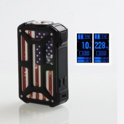 Authentic Rincoe Mechman 228W TC VW Variable Wattage Box Mod - Steel Bone American Flag Black, 1~228W, 2 x 18650