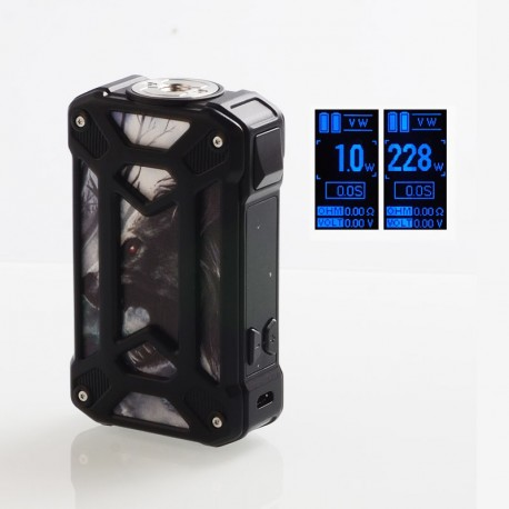 Authentic Rincoe Mechman 228W TC VW Variable Wattage Box Mod - Steel Case Wolf Black, 1~228W, 2 x 18650