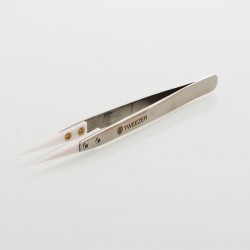 Authentic ThunderHead Creations THC Straight Ceramic Head Tweezers for RDA / RTA / RDTA - Silver + White
