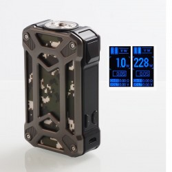Authentic Rincoe Mechman 228W TC VW Variable Wattage Box Mod - Steel Case Camo SS, 1~228W, 2 x 18650