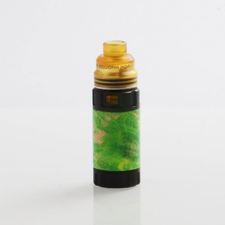 Authentic Ultroner Mini Stick Stabilized Wood Mechanical Mod + Ultroner RDA Kit - Black + Green, 1 x 18350