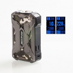 Authentic Rincoe Mechman 228W TC VW Variable Wattage Box Mod - Steel Wing Camo SS, 1~228W, 2 x 18650