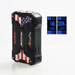 Authentic Rincoe Mechman 228W TC VW Variable Wattage Box Mod - Steel Wing American Flag Black, 1~228W, 2 x 18650