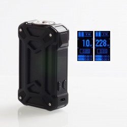 Authentic Rincoe Mechman 228W TC VW Variable Wattage Box Mod - Steel Case Full Black, 1~228W, 2 x 18650