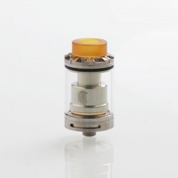 Reload Style RTA Silver Rebuildable Tank Atomizer w/ Replacement Glass Tank - Silver, Stainless Steel, 5ml, 24mm Diameter