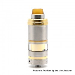 ShenRay VG V6 S V6S Style RTA Rebuildable Tank Atomizer - Silver + Gold, 316 Stainless Steel, 5.5ml, 23mm Diameter