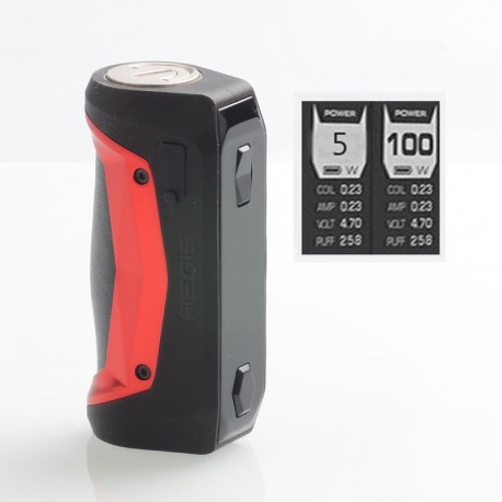 Authentic GeekVape Aegis Solo 100W TC VW Variable Wattage Box Mod - Red, 5~100W, 1 x 18650