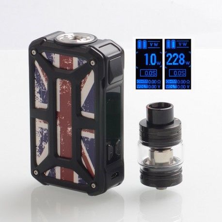 Authentic Rincoe Mechman 228W TC VW Box Mod + Mechman Mesh Tank Kit - Steel Bone Union Flag Black, 1~228W, 2 x 18650, 4.5ml