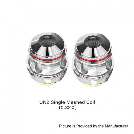 Authentic Uwell Valyrian 2 2 II UN2 Single Meshed Coil Head - Silver, Stainless Steel, 0.32ohm (90~100W) (2 PCS)