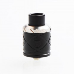 RH X Style RDA Rebuildable Dripping Atomizer w/ BF Pin - Black, Stainless Steel + Aluminum, 24mm Diameter