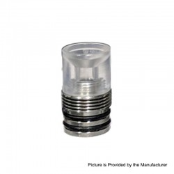 ShenRay Four One Five 415 RTA Replacement 510 Drip Tip - Translucent + Silver, PC + Stainless Steel, 22mm