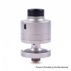 ShenRay Haku Riviera Style RDTA Rebuildable Dripping Tank Atomizer - Frosted Silver, 22mm Diameter, 316 Stainless Steel