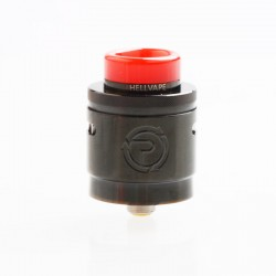 Authentic Hellvape Passage RDA Rebuildable Dripping Atomizer w/ BF Pin - Full Black, Stainless Steel, 24mm Diameter
