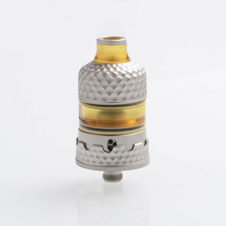 Hussar Project X Style RTA Rebuildable Tank Atomizer - Silver, 316 Stainless Steel + PEI, 2ml, 22mm Diameter