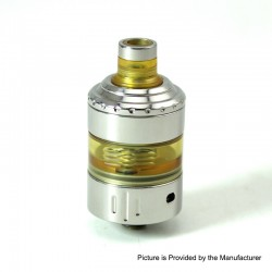 SXK Hussar Project X Style RTA Rebuildable Tank Atomizer - Silver, 316 Stainless Steel + PEI, 2.0ml, 22mm Diameter