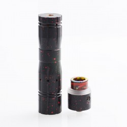 Aftermath V2 Style Mechanical Mod + Redemption Style RDA Kit - Black + Red, Brass + Stainless Steel, 1 x 18650, 24mm Diameter