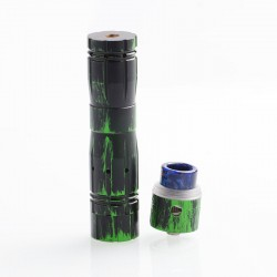 Aftermath V2 Style Mechanical Mod + Redemption Style RDA Kit - Black Green, Brass + Stainless Steel, 1 x 18650, 24mm Diameter